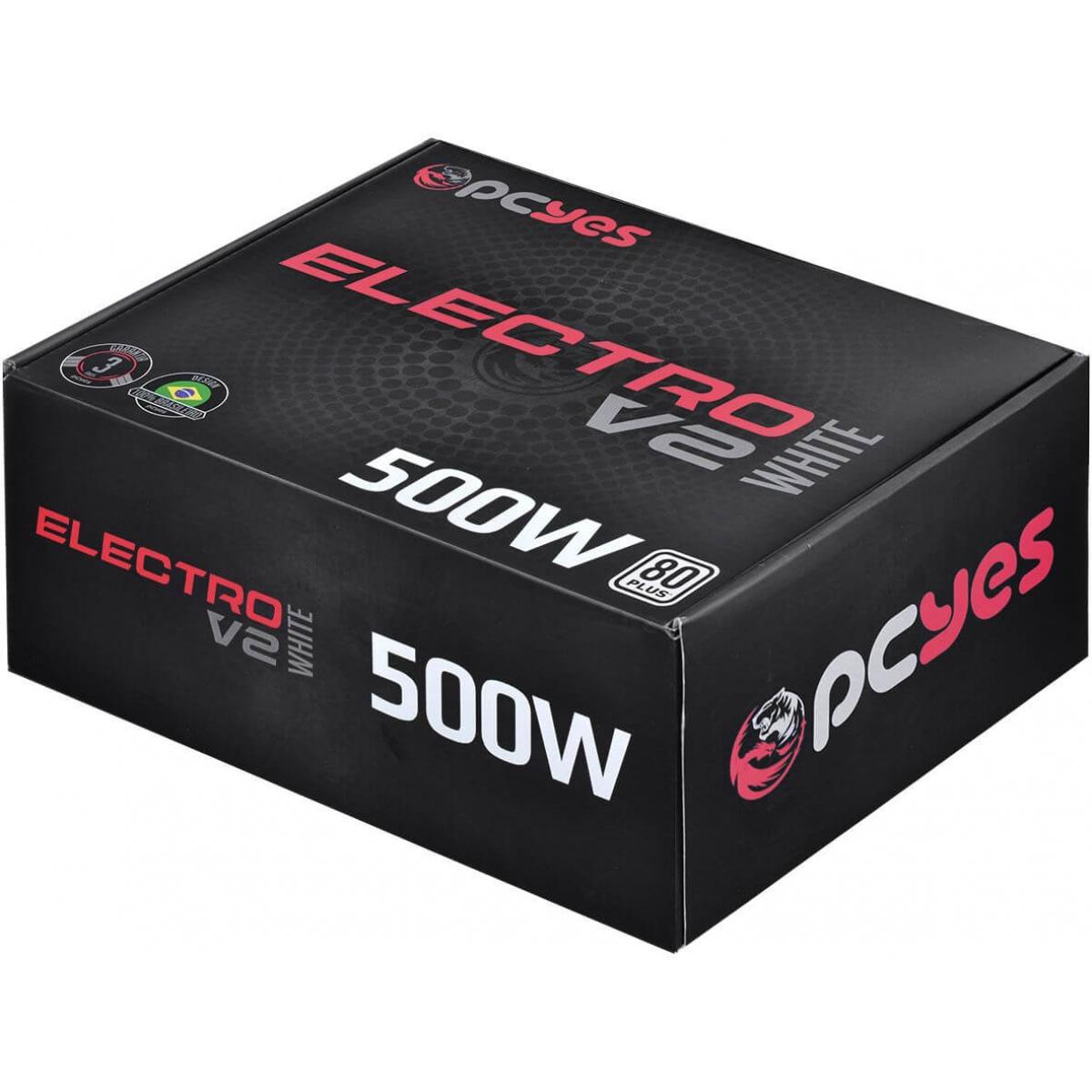 Fonte PCYES Electro V2 500W, 80 Plus White, PFC Ativo, ELV2WHPTO500W