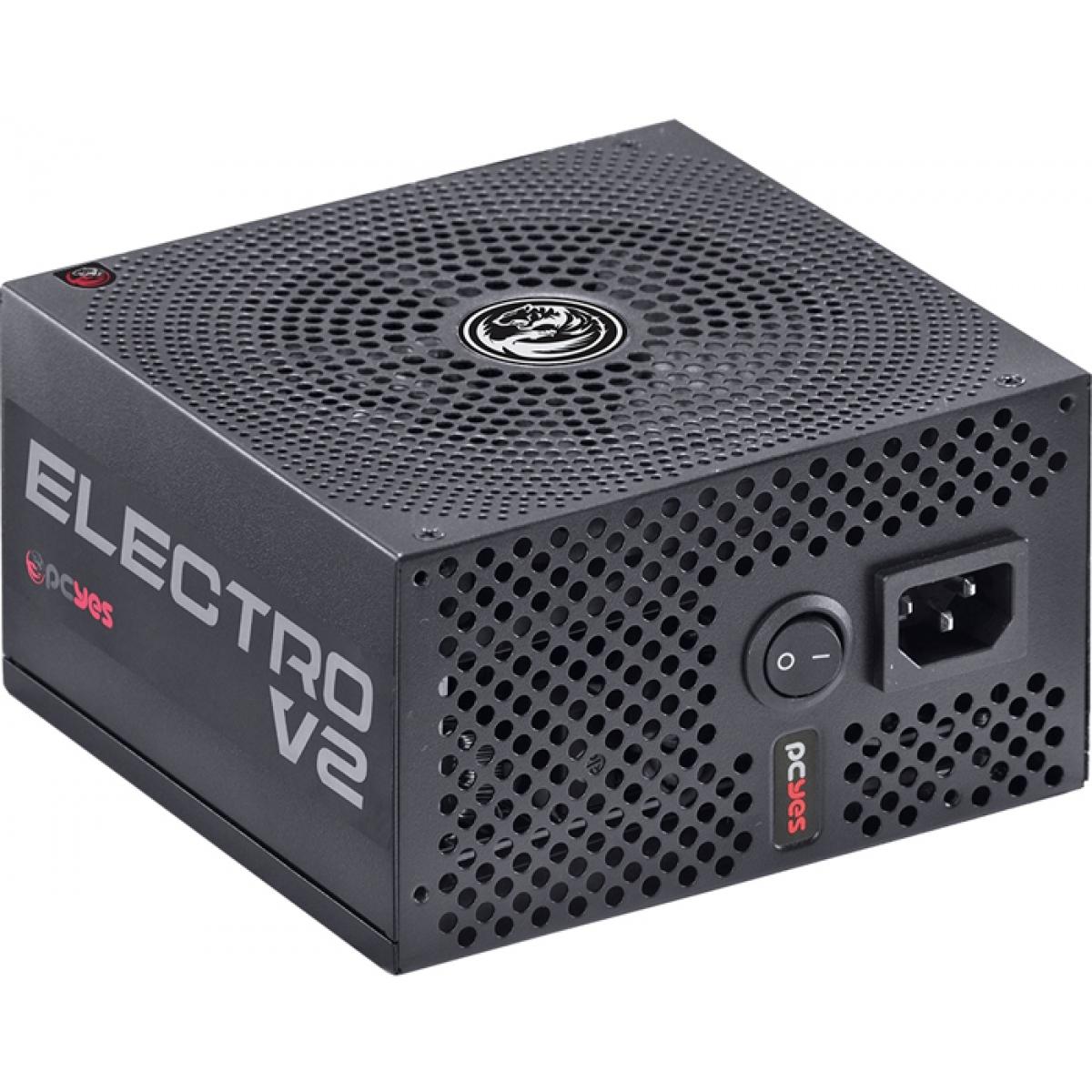 Fonte PCYES Electro V2 550W, 80 Plus Bronze, PFC ATIVO, ELECV2PTO550W