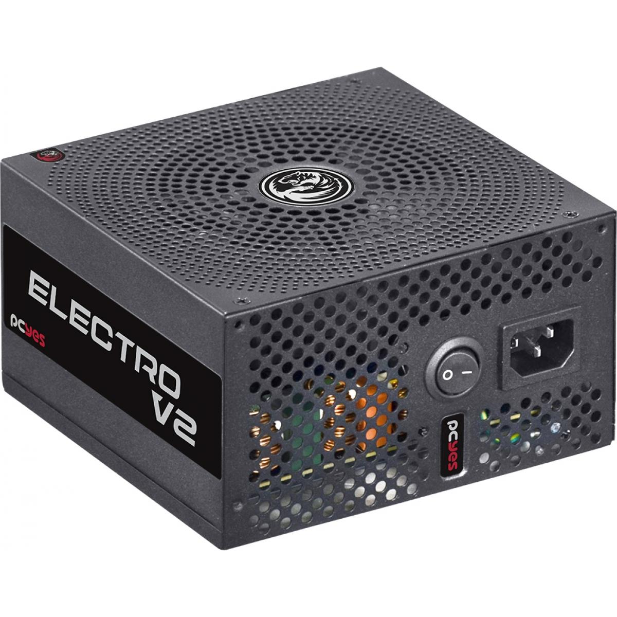 Fonte PCYES Electro V2, 600W, 80 Plus Bronze, PFC Ativo, ELECV2PTO600W