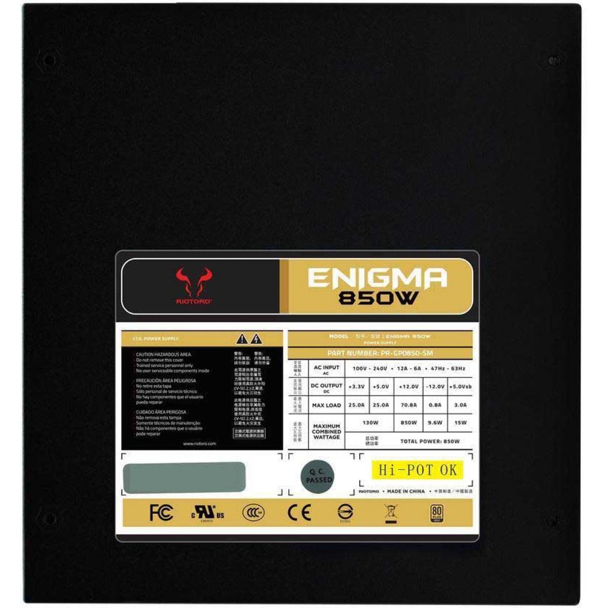 Fonte Riotoro Enigma 850W, 80 Plus Gold, PFC Ativo, Semi Modular, PR-GP0850-SM