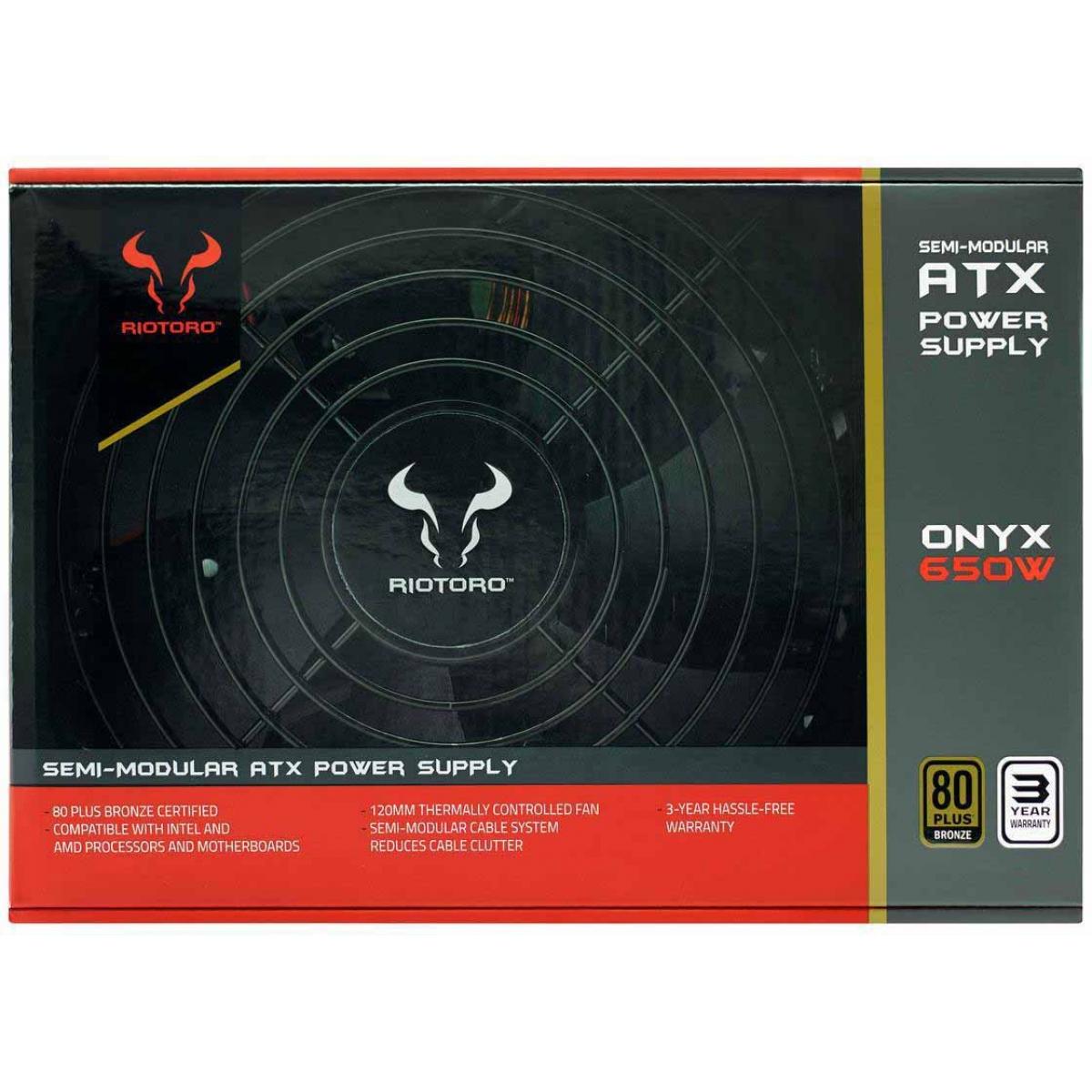 Fonte Riotoro Onyx 650W, 80 Plus Bronze, PFC Ativo, Semi Modular, PR-BP0650-SM
