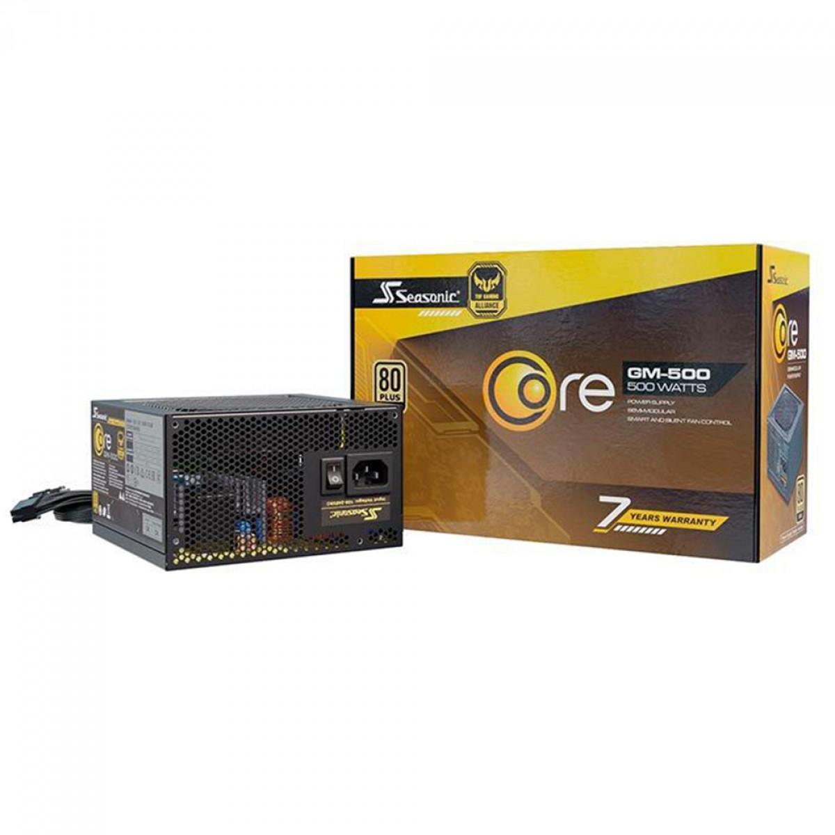 Fonte Seasonic Core GM-500, 500W, 80 Plus Gold, Semi Modular
