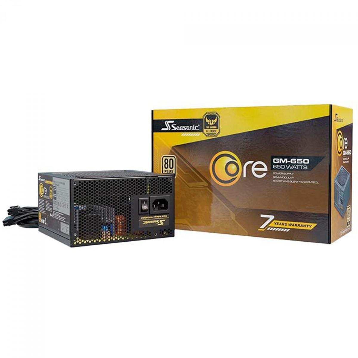 Fonte Seasonic Core GM-650, 650W, 80 Plus Gold, Semi Modular