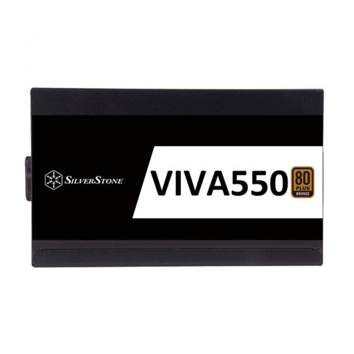 Fonte SilverStone VIVA 550, 550W, 80 Plus Bronze, PFC Ativo, SST-VA550-B