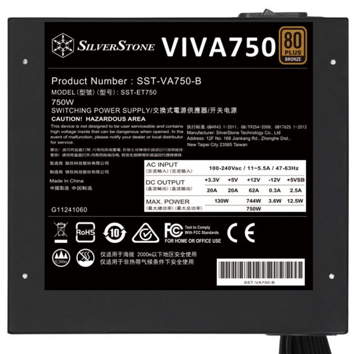 Fonte SilverStone VIVA 750, 750W, 80 Plus Bronze, PFC Ativo, SST-VA750-B - Open Box DESATIVADO 17316