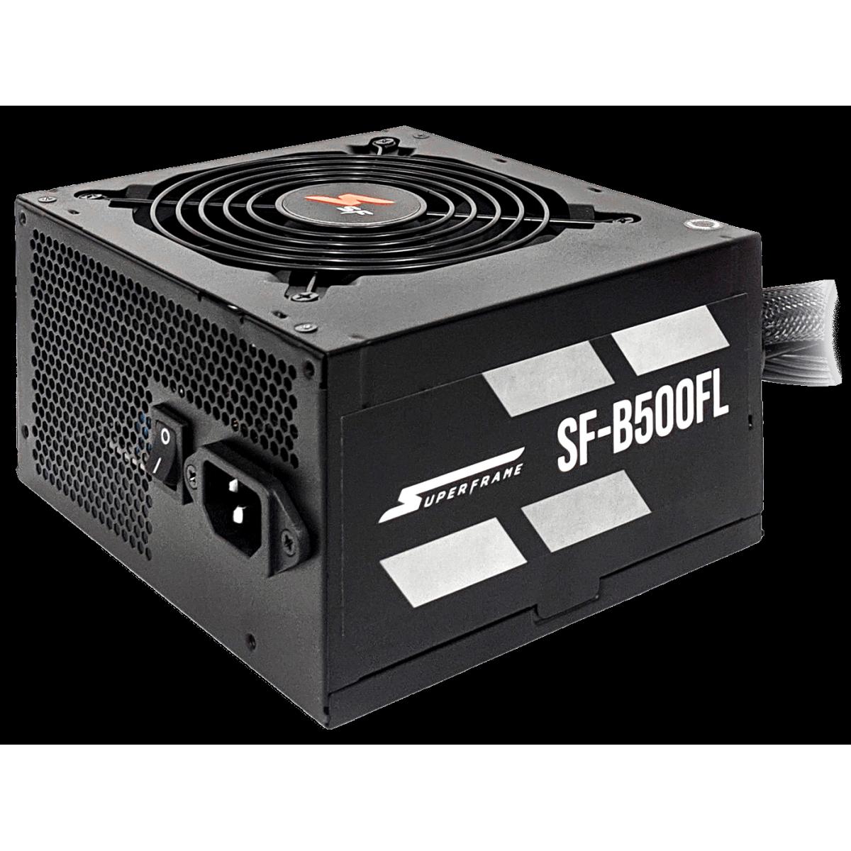 Fonte SuperFrame, 500W, 80 Plus Bronze, PFC Ativo, Cabos Flat, SF-B500FL
