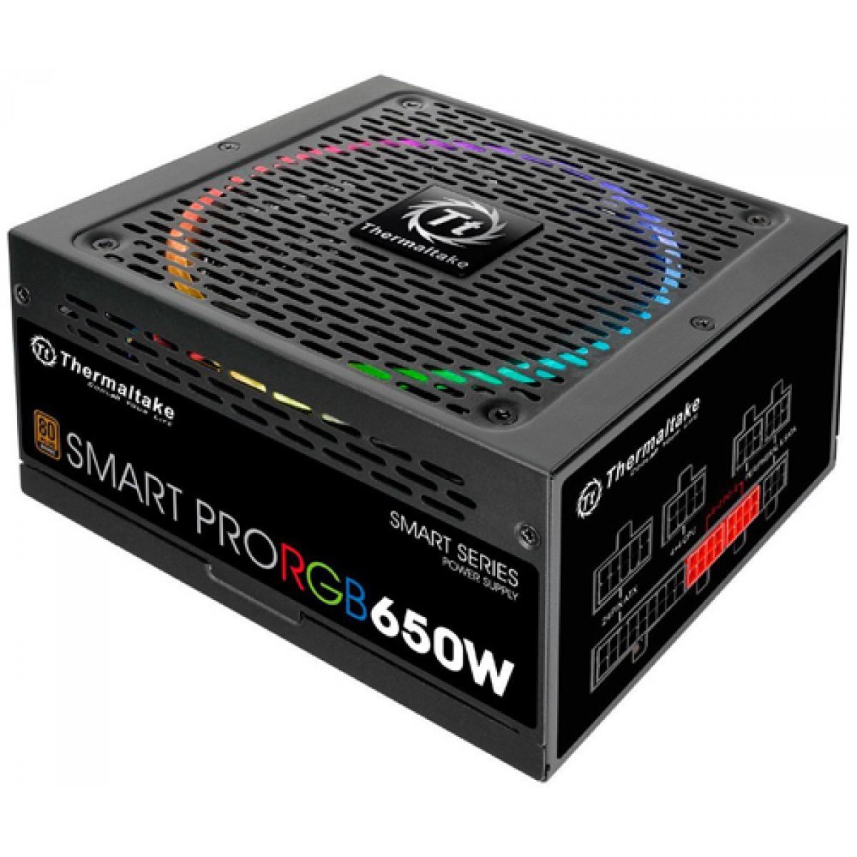 Fonte Thermaltake Smart Pro RGB 650W 80 Plus Bronze, Modular, PFC Ativo, PS-SPR-0650FPCBUS-R