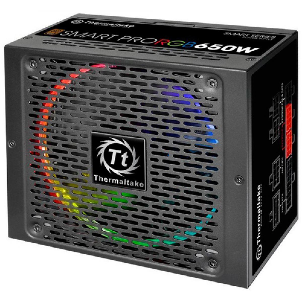 Fonte Thermaltake Smart Pro RGB 650W, 80 Plus Bronze, PFC Ativo, Full Modular, PS-SPR-0650FPCBBZ-R
