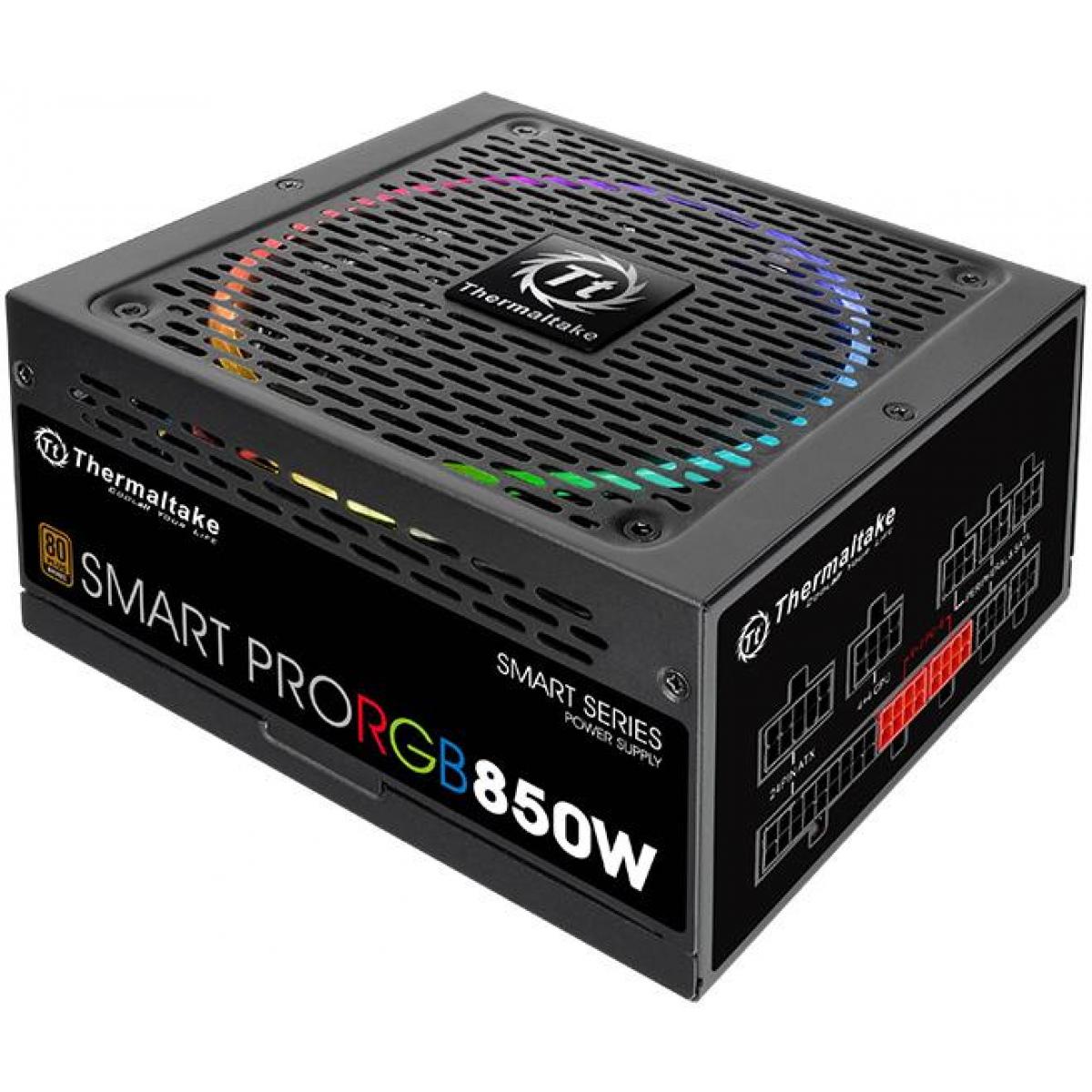 Fonte Thermaltake Smart Pro RGB 850W, 80 Plus Bronze, PFC Ativo, Full Modular, PS-SPR-0850FPCBUS-R