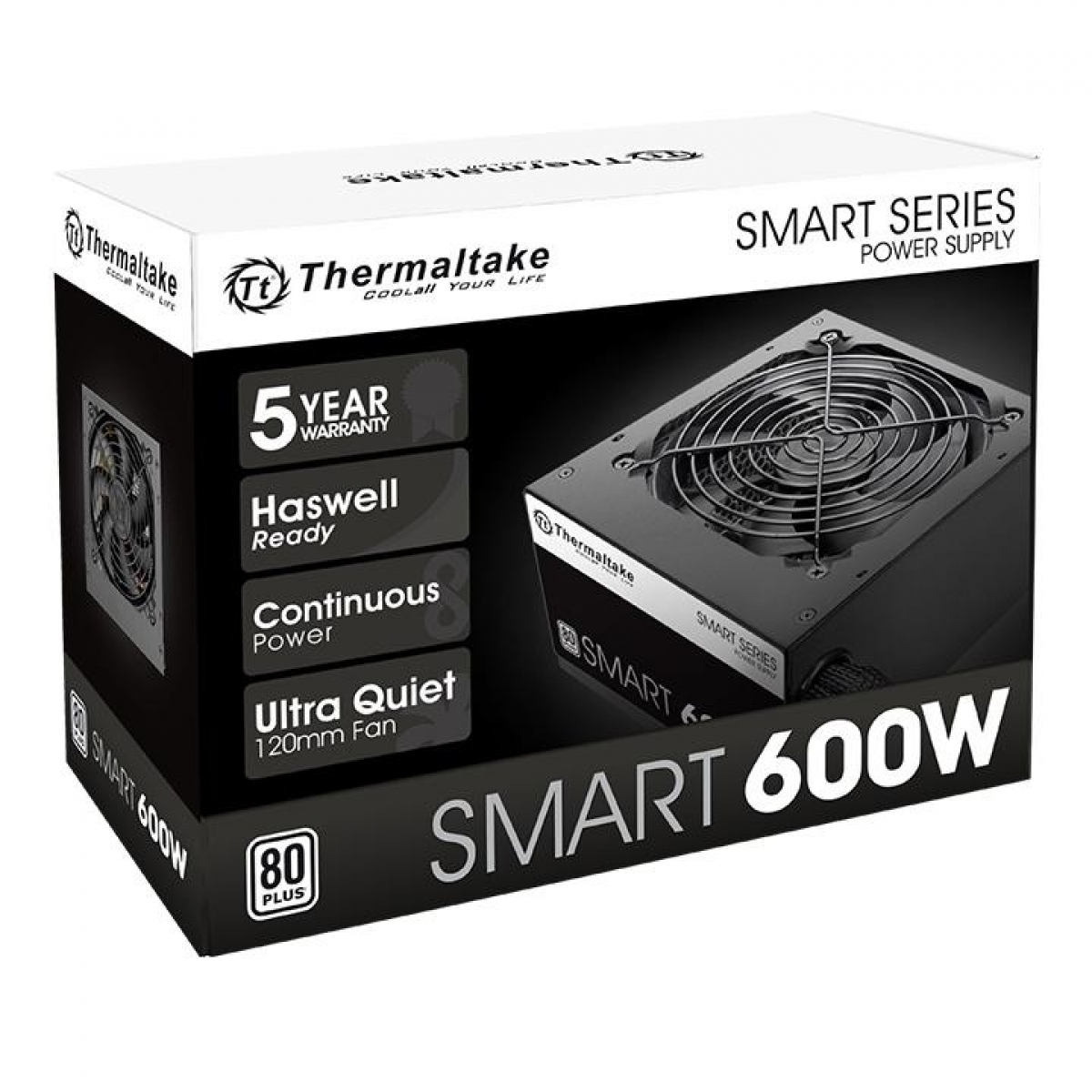 Fonte Thermaltake Smart Series 600W, 80 Plus White, PFC Ativo, PS-SPD-0600NPCWBZ-W