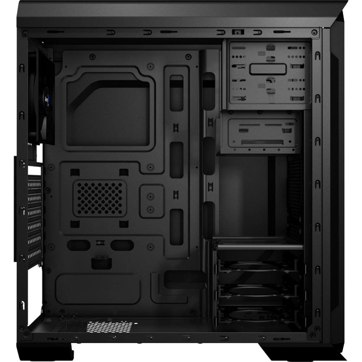 Gabinete Gamer Aerocool Aero 500, Mid Tower, Com 1 Fan, Black, Sem Fonte