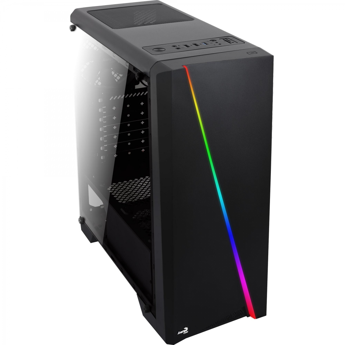 Gabinete Gamer Aerocool Cylon RGB, Mid Tower, Com 1 Fan, Lateral em Acrílico, Black, S-Fonte