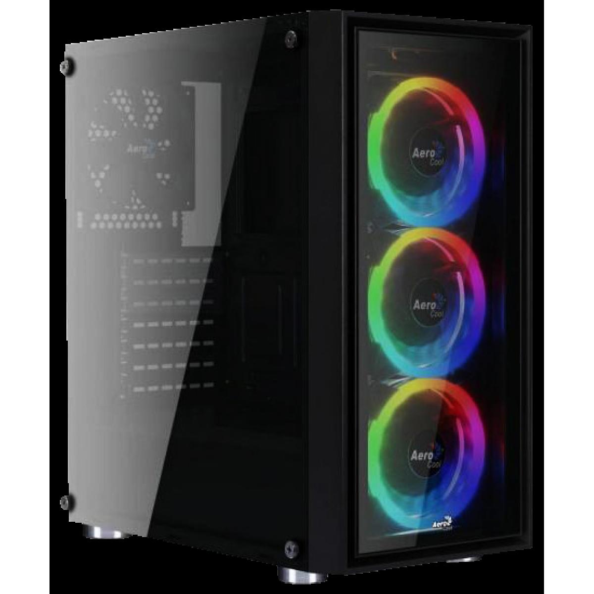 Gabinete Gamer Aerocool Quartz Revo ARGB, Com 3 Fans, Mid Tower, Vidro Temperado, 67545, Black, Sem Fonte