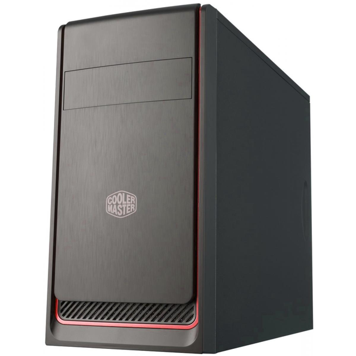 Gabinete Gamer Cooler Master Masterbox E300L, Mid Tower, Com 1 Fan, Black, S-Fonte, MCB-E300L-KN5N-B00-Red