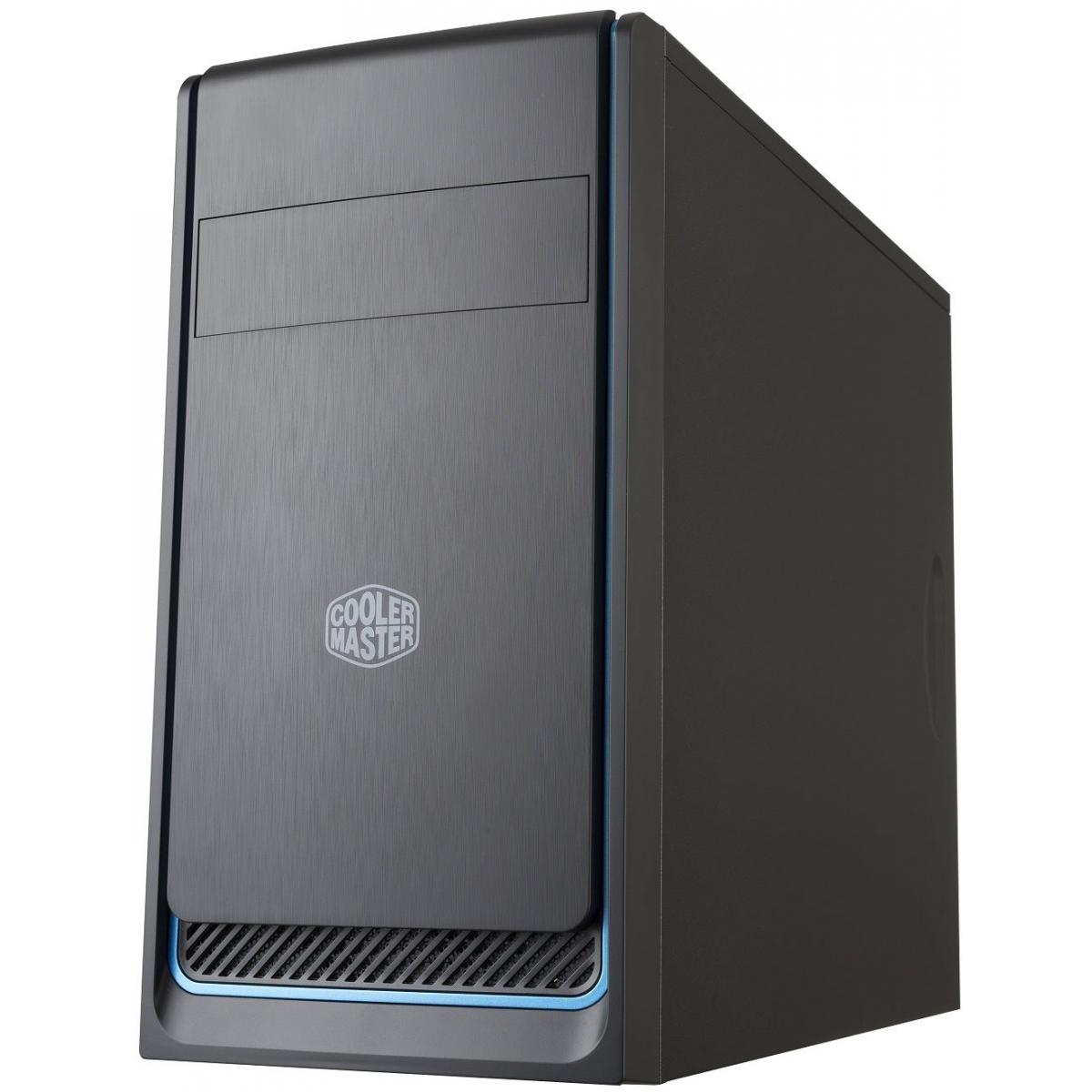 Gabinete Gamer Cooler Master, Masterbox E300L, Mid Tower, Black/Blue, Sem Fonte, Com 1 Fan, MCB-E300L-KN5N-B01
