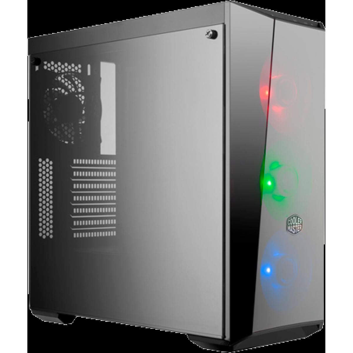 Gabinete Gamer Cooler Master Masterbox Lite 5 RGB, Mid Tower, Vidro Temperado, Black, Sem Fonte, Com 4 Fans, MCW-L5S3-KGNN-02