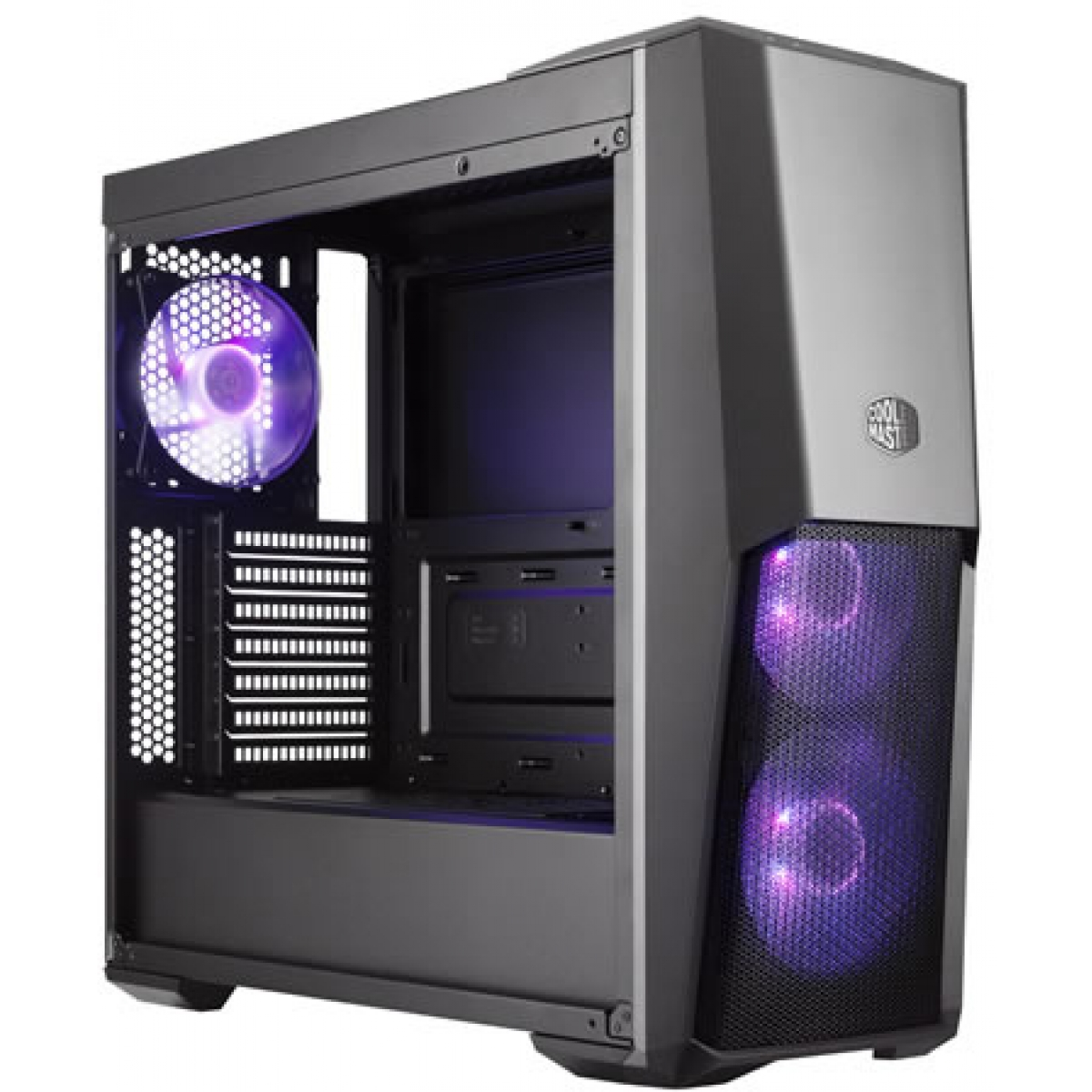 Gabinete Gamer Cooler Master MasterBox MB500, Mid Tower, Vidro Temperado, Black, Sem Fonte, Com 3 Fans RGB, MCB-B500D-KGNN-S00