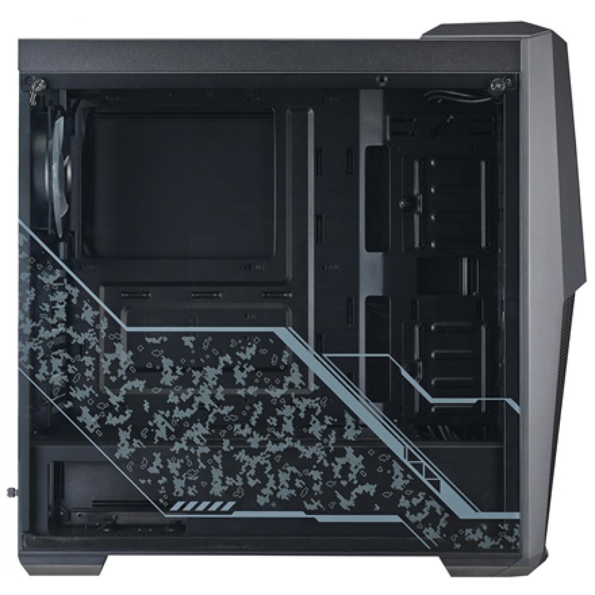 Gabinete Gamer Cooler Master Masterbox MB500 Tuf Gaming, Mid Tower, Com 3 Fans RGB, Vidro Temperado, Black, S-Fonte, MCB-B500D-KGNN-TUF
