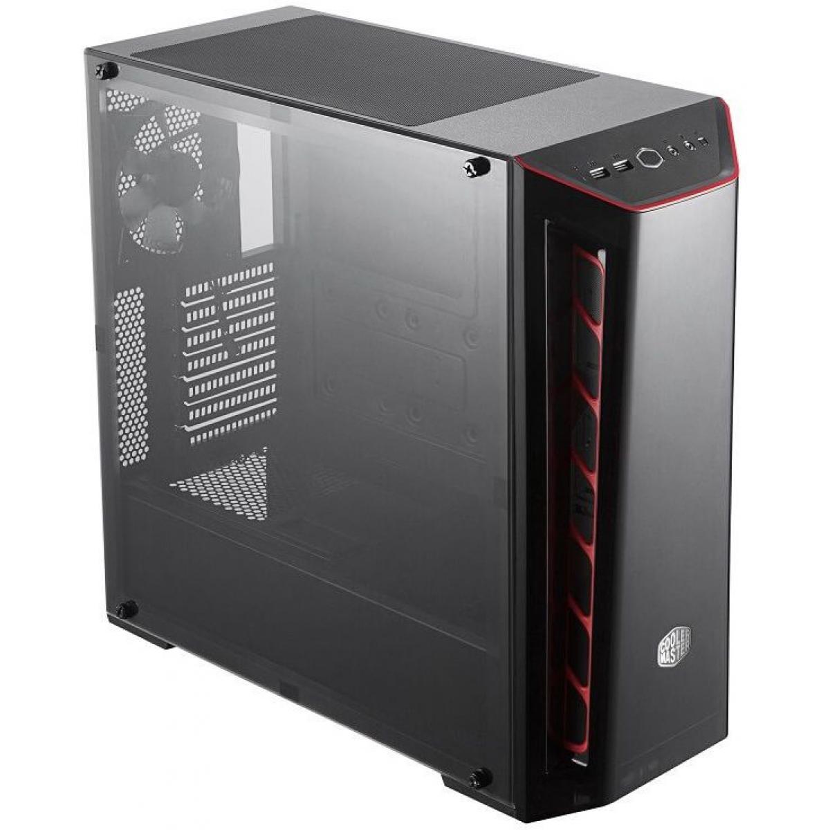 Gabinete Gamer Cooler Master Masterbox MB520, Mid Tower, Black, Sem Fonte, Com 1 Fan, MCB-B520-KANN-S00-Red
