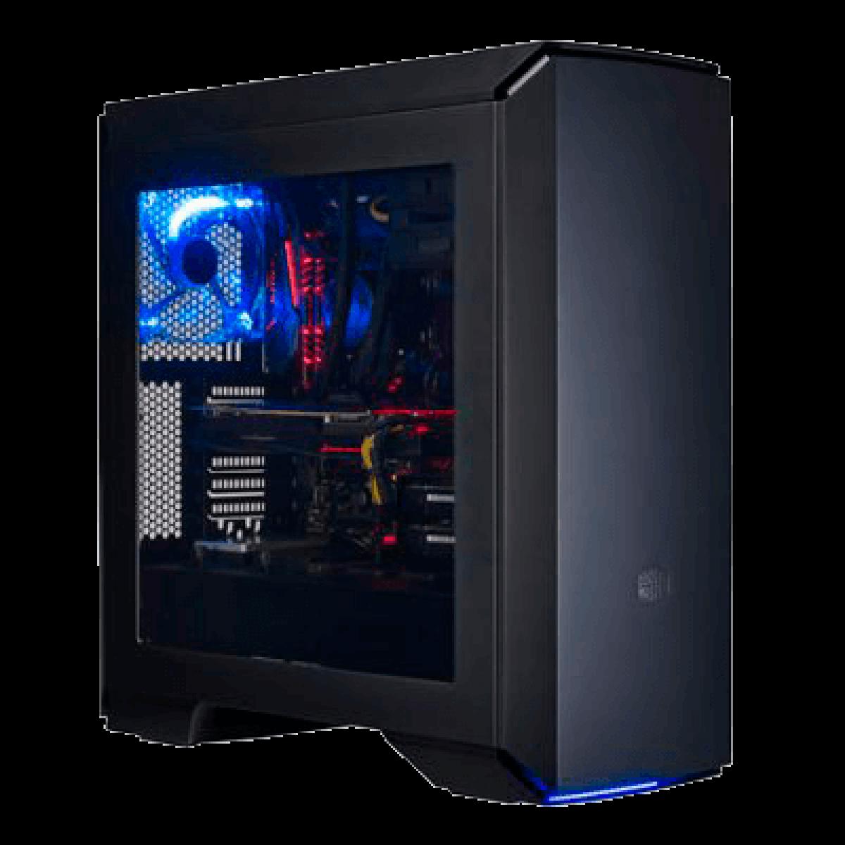 Gabinete Gamer Cooler Master Mastercase Pro 6, Mid Tower, Led Blue, Black, Sem Fonte, Com 3 fans, MCY-C6P2-KW5N