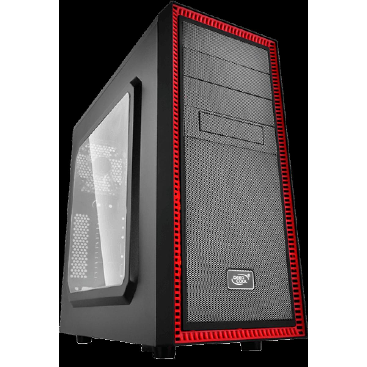 Gabinete Gamer DeepCool Tesseract SW-RD, Mid Tower, Com 1 Fan, Black-Red, Sem Fonte, DP-ATX-TSRBKRD