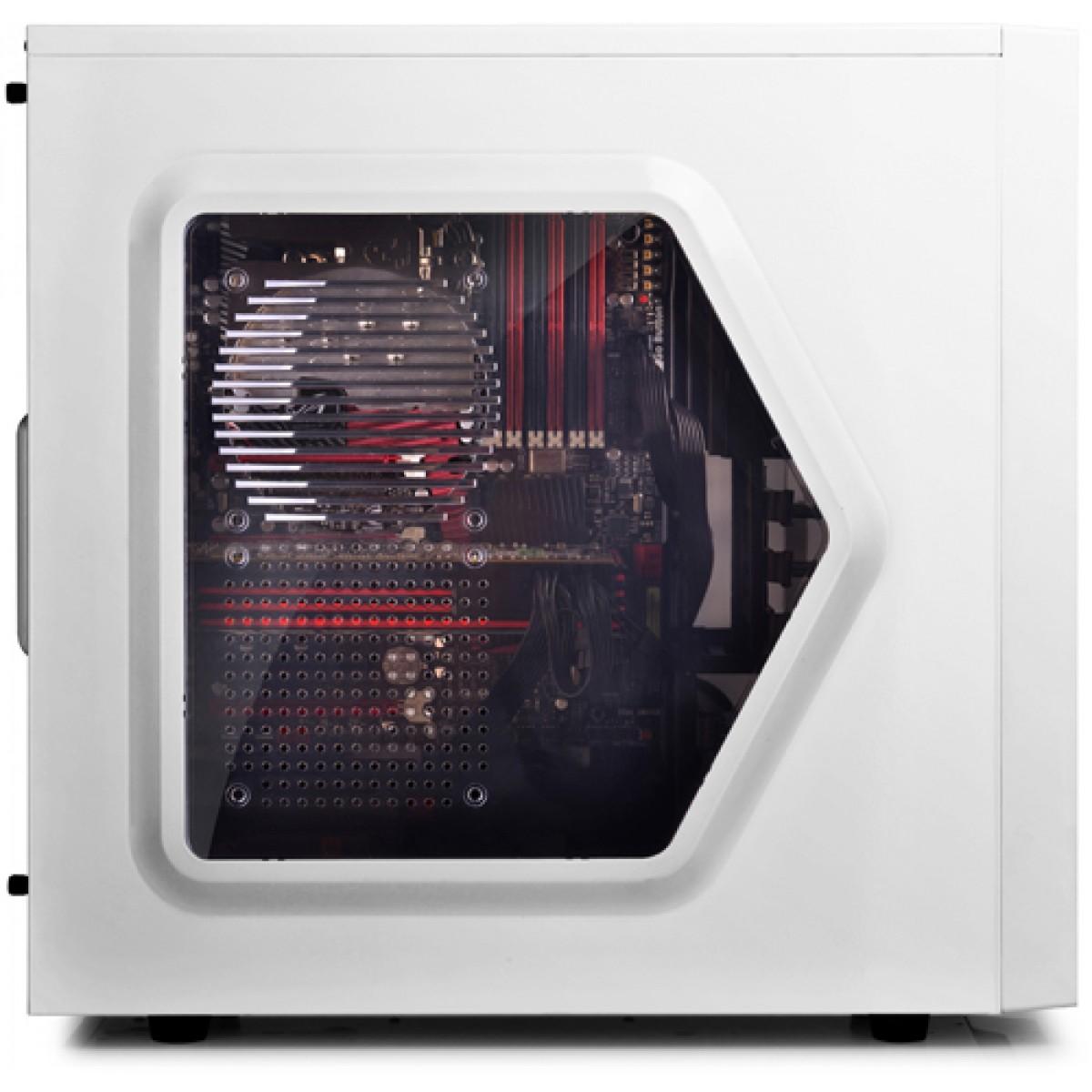 Gabinete Gamer DeepCool Tesseract, Mid Tower, Com 1 Fan, Black-White, Sem Fonte, DP-ATX-TSRSWWH