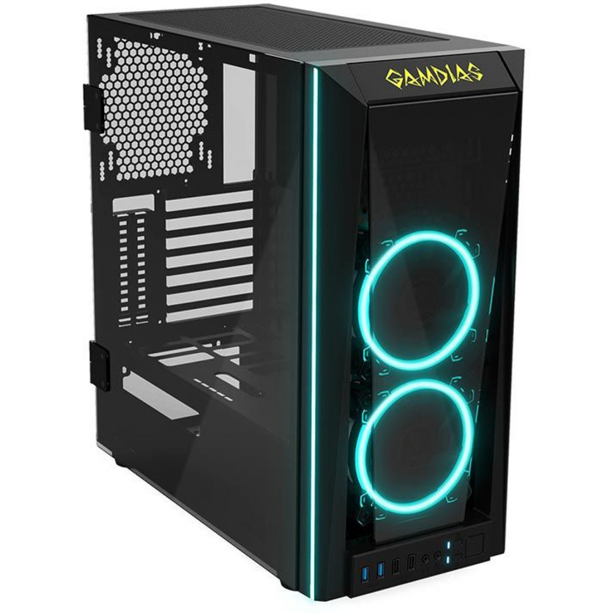 Gabinete Gamer Gamdias Talos M1, Mid Tower, Vidro Temperado, Black, Sem fonte, Com 2 Fans RGB