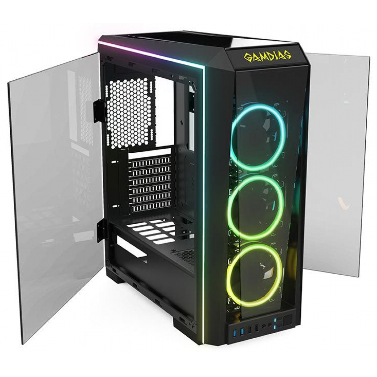 Gabinete Gamer Gamdias Talos P1, Mid Tower, Com 3 Fans RGB, Vidro Temperado, Black, S-fonte