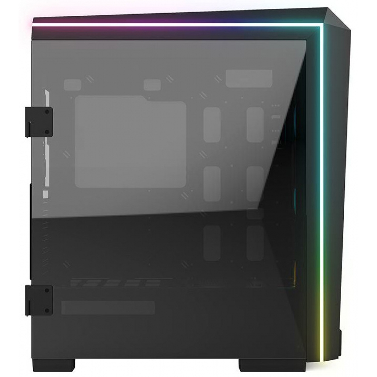 Gabinete Gamer Gamdias Talos P1, Mid Tower, Vidro Temperado, Black, Sem fonte, Com 3 Fans RGB