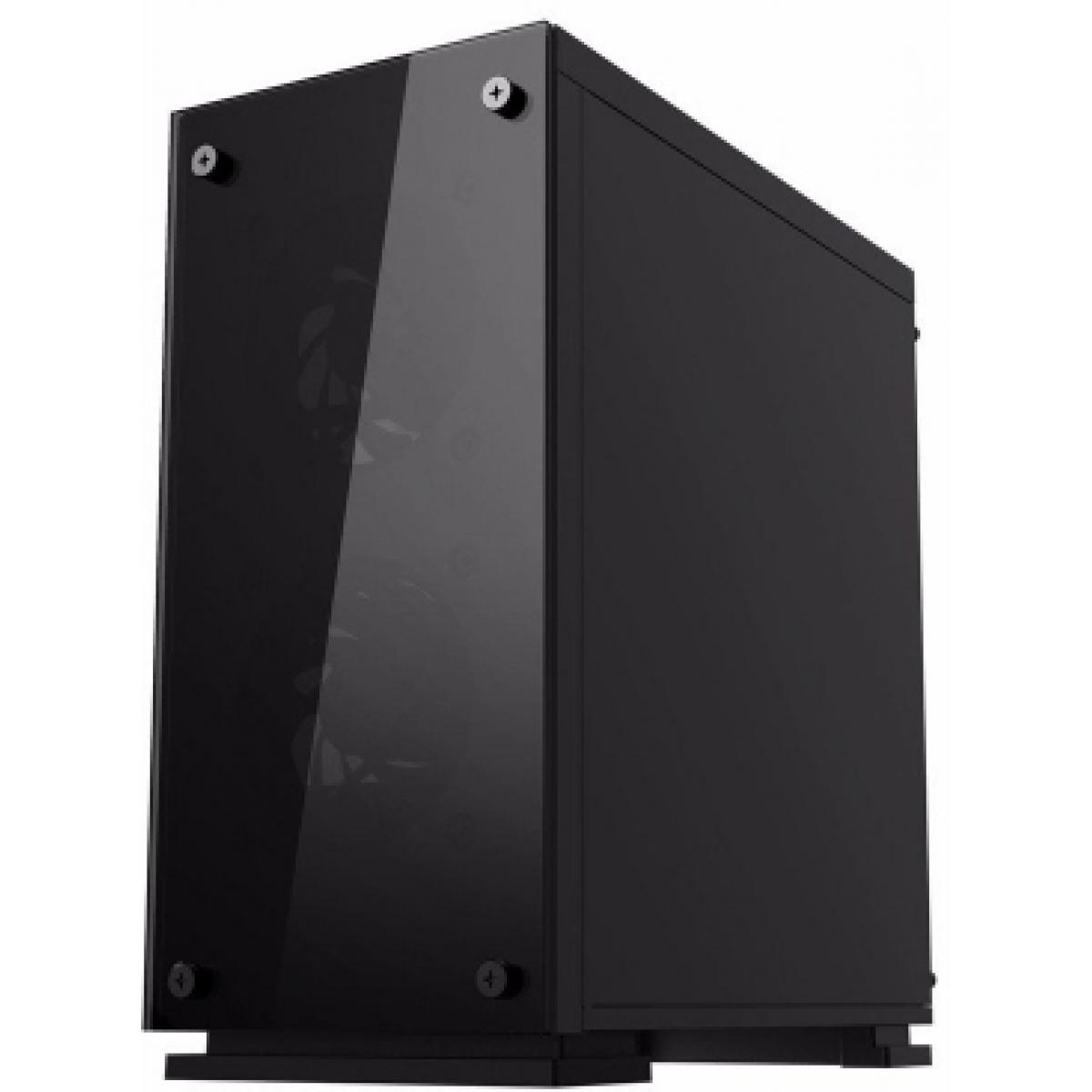 Gabinete Gamer Gamemax, Mid Tower, Vidro temperado, Com 3 Fans RGB, Black, Sem Fonte, H605-TA