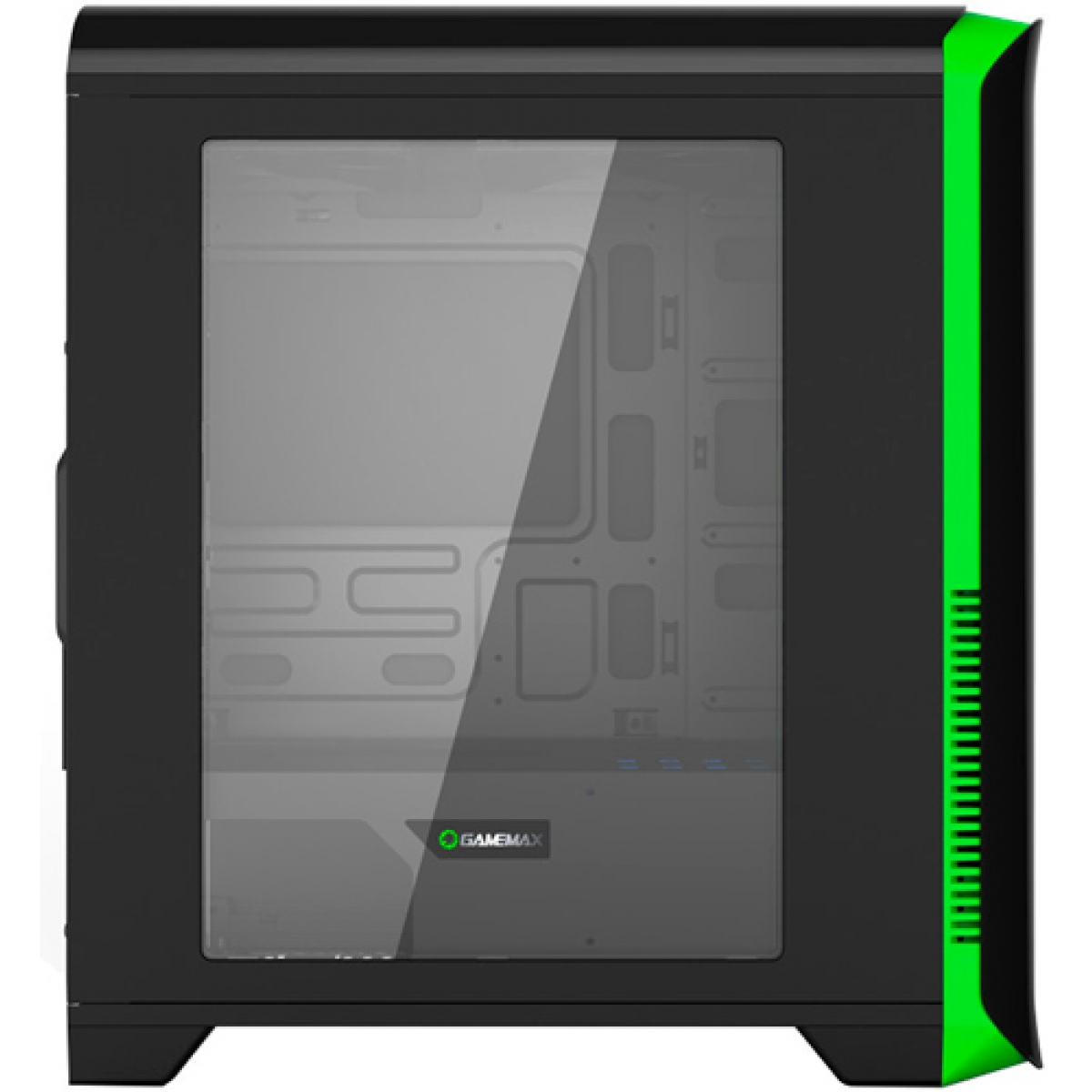 Gabinete Gamer Gamemax Hero, Mid Tower, Com 4 Fans, Black-Green, S-Fonte, H602-BG
