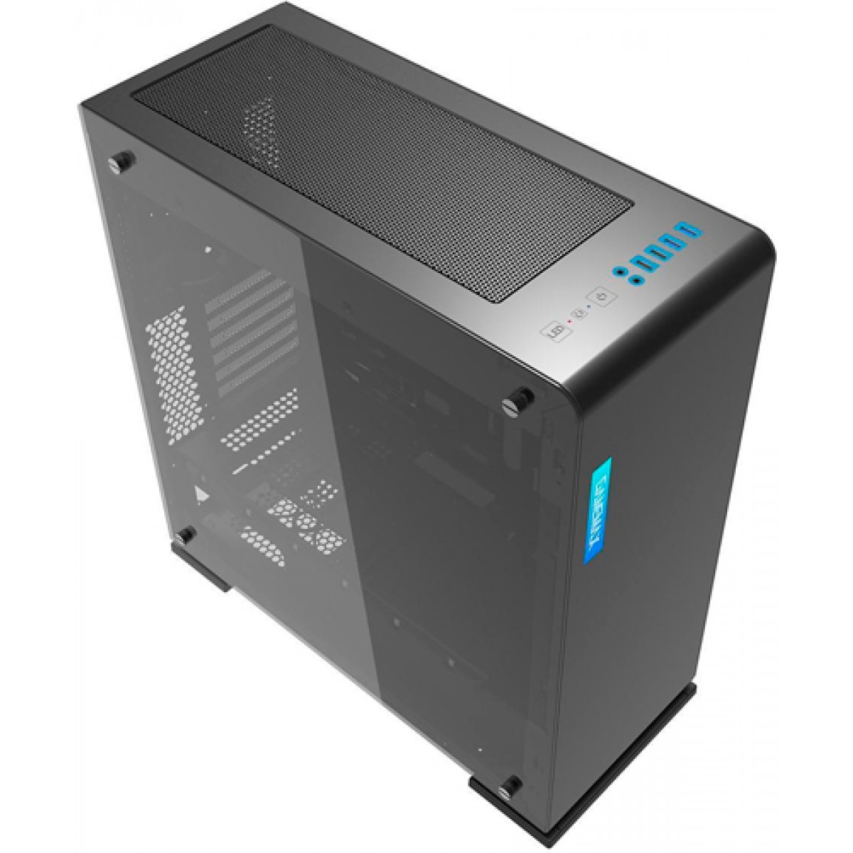 Gabinete Gamer Gamemax Vega M909 RGB,​​​​​​​ Lateral em Acrilico, Full Tower, Com 1 Fan, Black, S-Fonte, GMX-VEGA-B