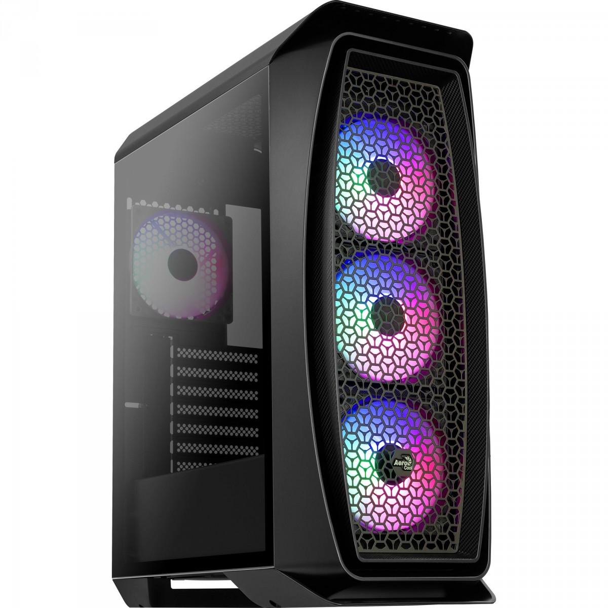 Gabinete Gamer Aerocool, Aero One Frost RGB, Mid Tower, Vidro Temperado, Black, 70167, Sem Fonte, Com 4 Fans