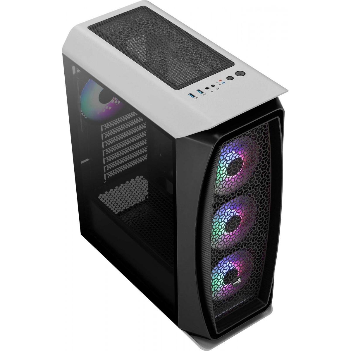 Gabinete Gamer Aerocool, Aero One Frost RGB, Mid Tower, Vidro Temperado, White, 70168, Sem Fonte, Com 4 Fans
