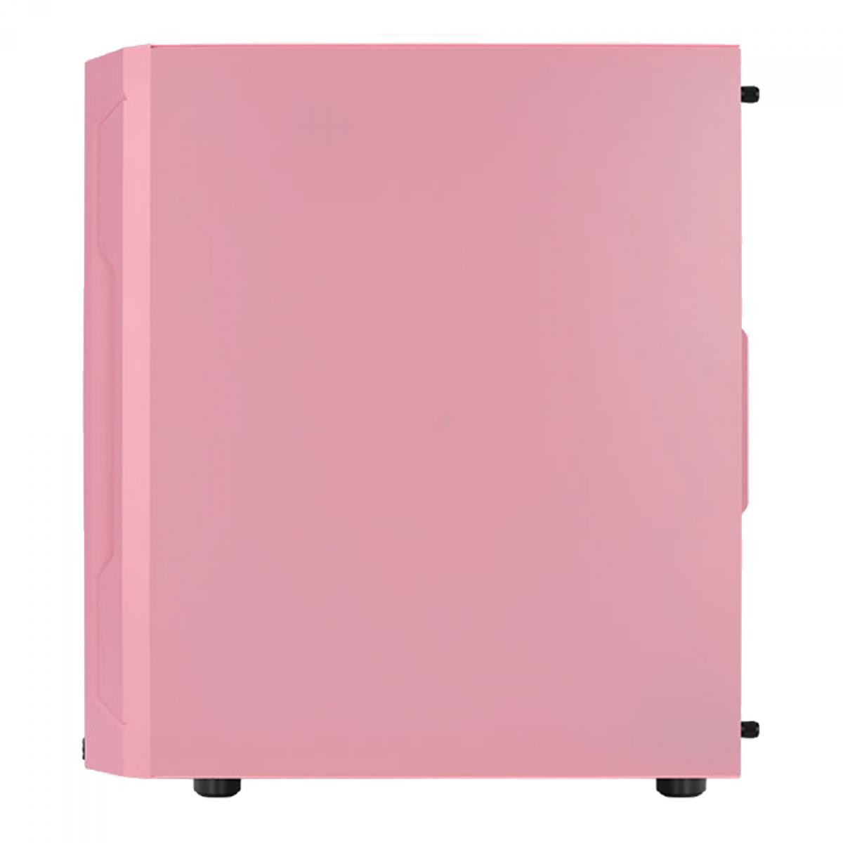 Gabinete Gamer Aerocool Trinity Mini, V1, Pink, Mini Tower, Vidro Temperado, Pink, Micro ATX, Sem Fonte, Com 1 fan, TRINITY MINI-G-PK-V1