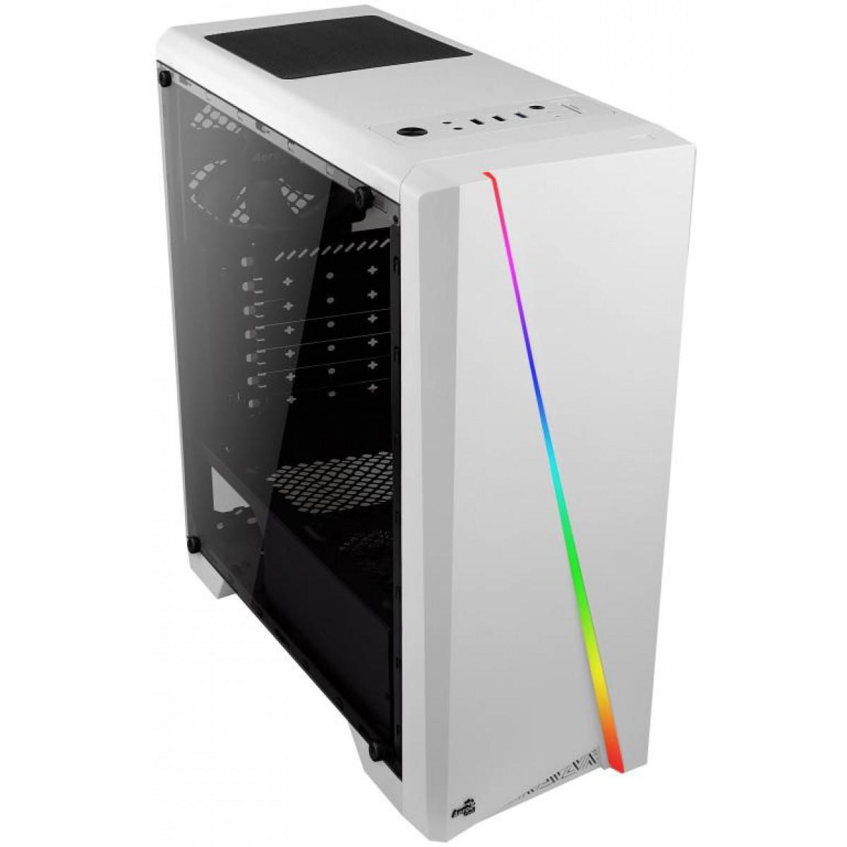 Gabinete Gamer Aerocool, Cylon RGB, Mid Tower, Acrílico, White, Sem Fonte, Com 1 Fan
