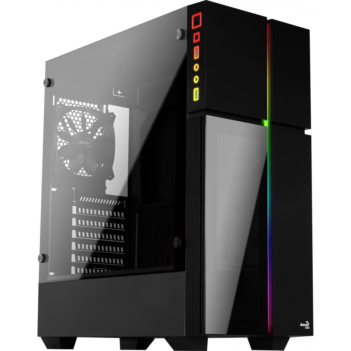 Gabinete Gamer Aerocool, Playa RGB, Mid Tower, Vidro Temperado, Black, 67967, Sem Fonte, Com 1 Fan