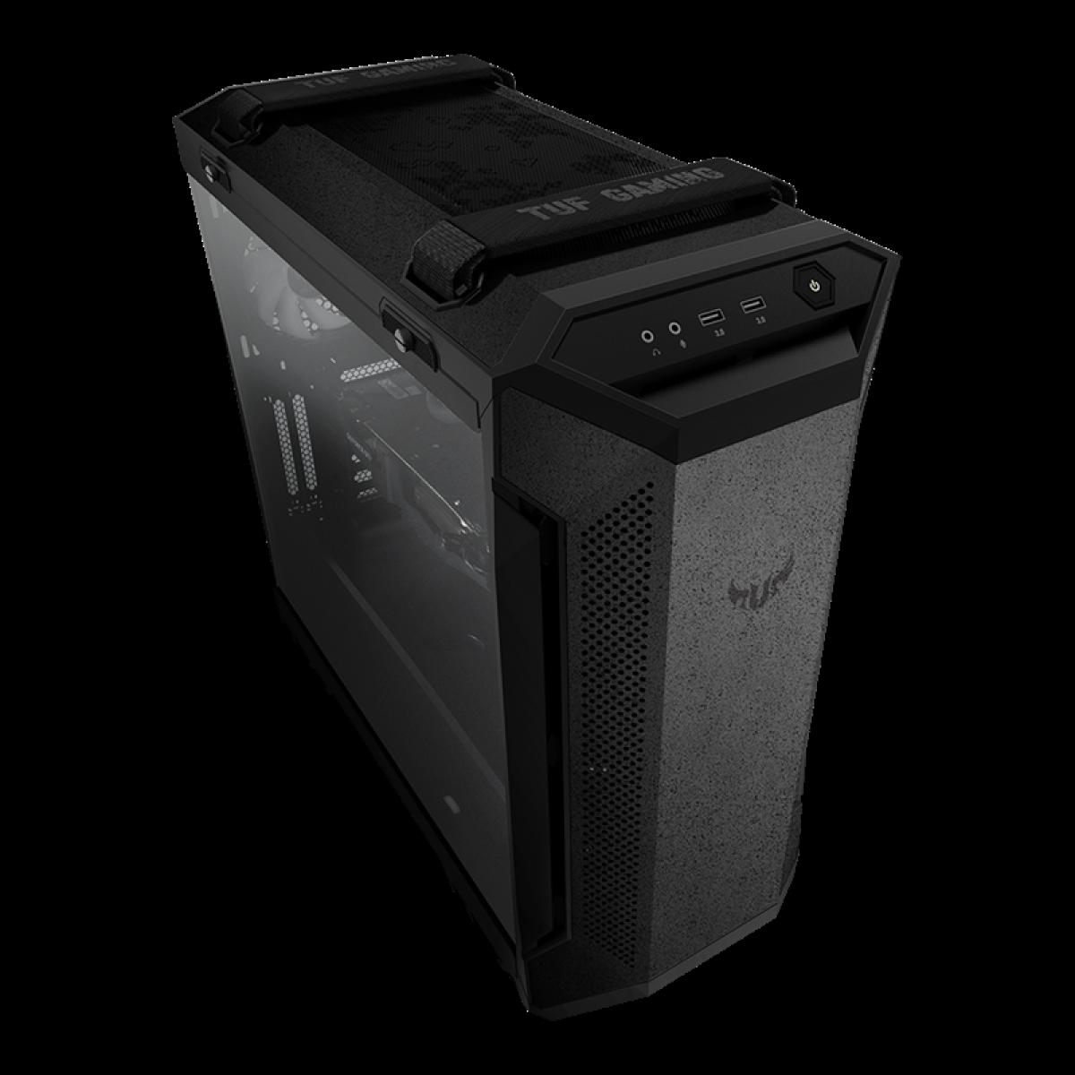 Gabinete Gamer ASUS TUF Gaming GT501, Mid-Tower, Vidro Temperado, Black, E-ATX, Sem Fonte, Com 4 Fans, 90DC0012-B40000