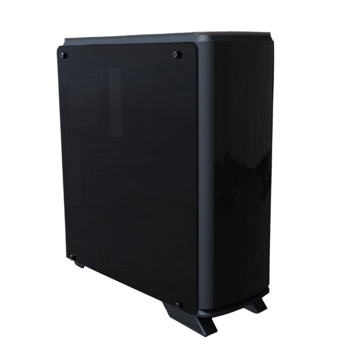 Gabinete Gamer Bluecase BG-007, Mid Tower, S-Fan, Vidro Temperado, Black, S-Fonte