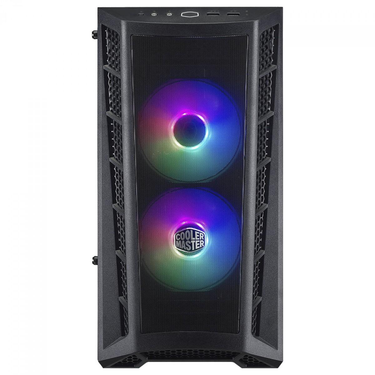Gabinete Gamer Cooler Master MasterBox MB311L ARGB, Mini Tower, Vidro Temperado, Black, Micro ATX, Sem Fonte, Com 2 Fans, MCB-B311L-KGNN-S02