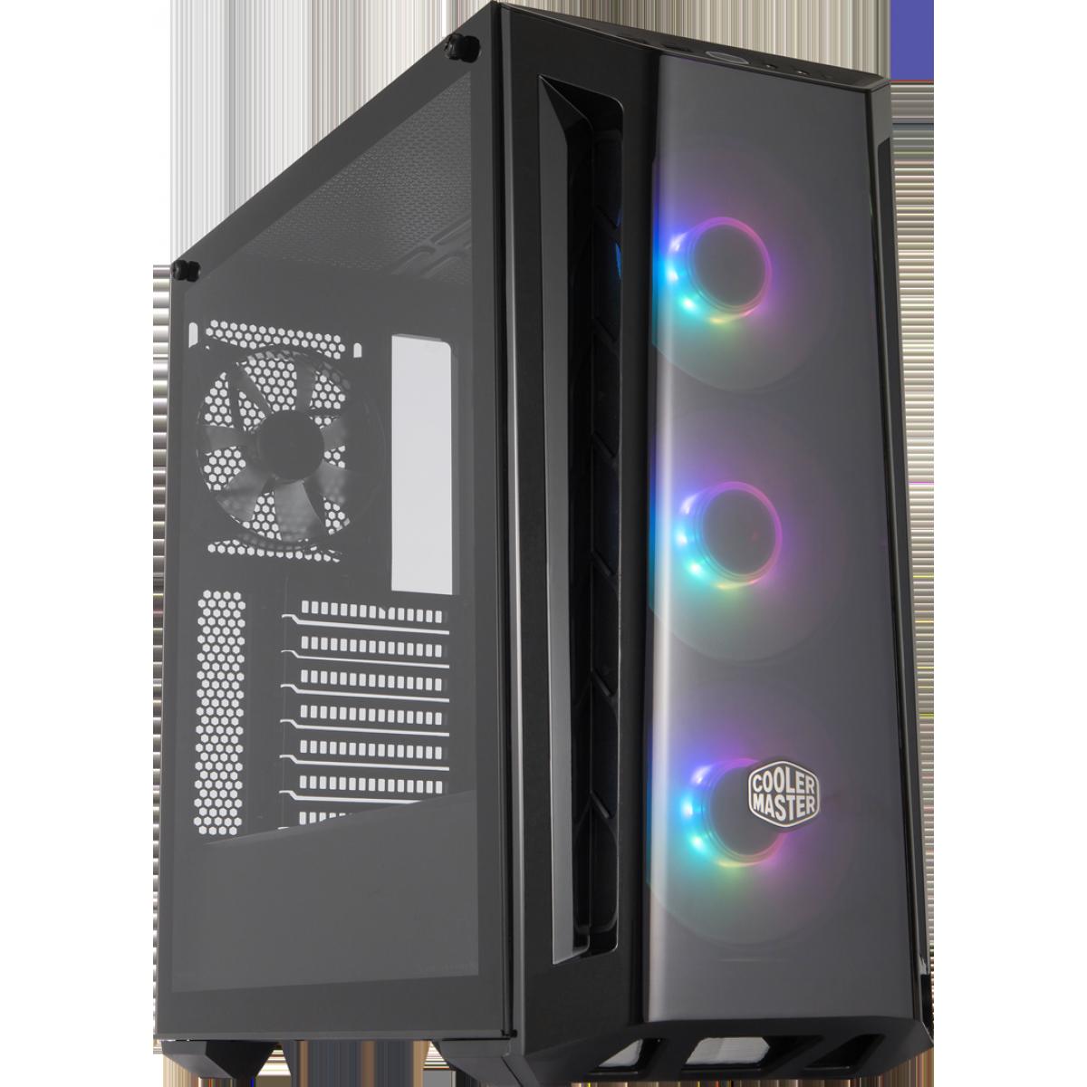 Gabinete Gamer Cooler Master Masterbox MB520, ARGB, Mid Tower, Black, Sem Fonte, Com 4 Fans, MCB-B520-KGNN-RGA