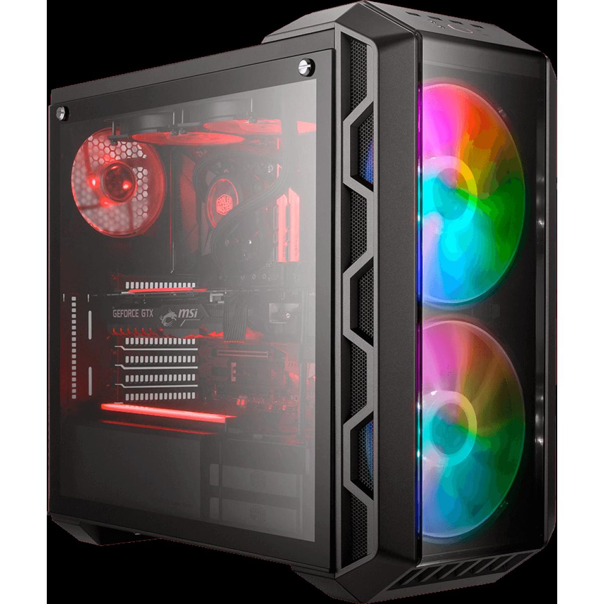 Gabinete Gamer Cooler Master Mastercase H500 ARGB, Mid Tower, Black, Sem Fonte, Com 3 Fans, MCM-H500-IGNN-S01