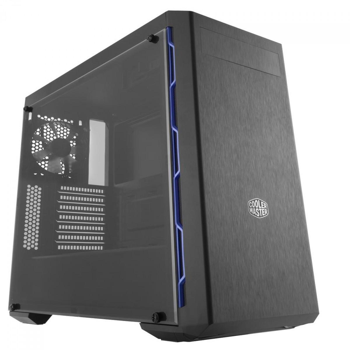 Gabinete Gamer Cooler Master MasterBoc MB600L, Mid Tower, Black/Blue, ATX, Com ODD, Sem Fonte, Com 1 Fan, MCB-B600L-KA5N-S01