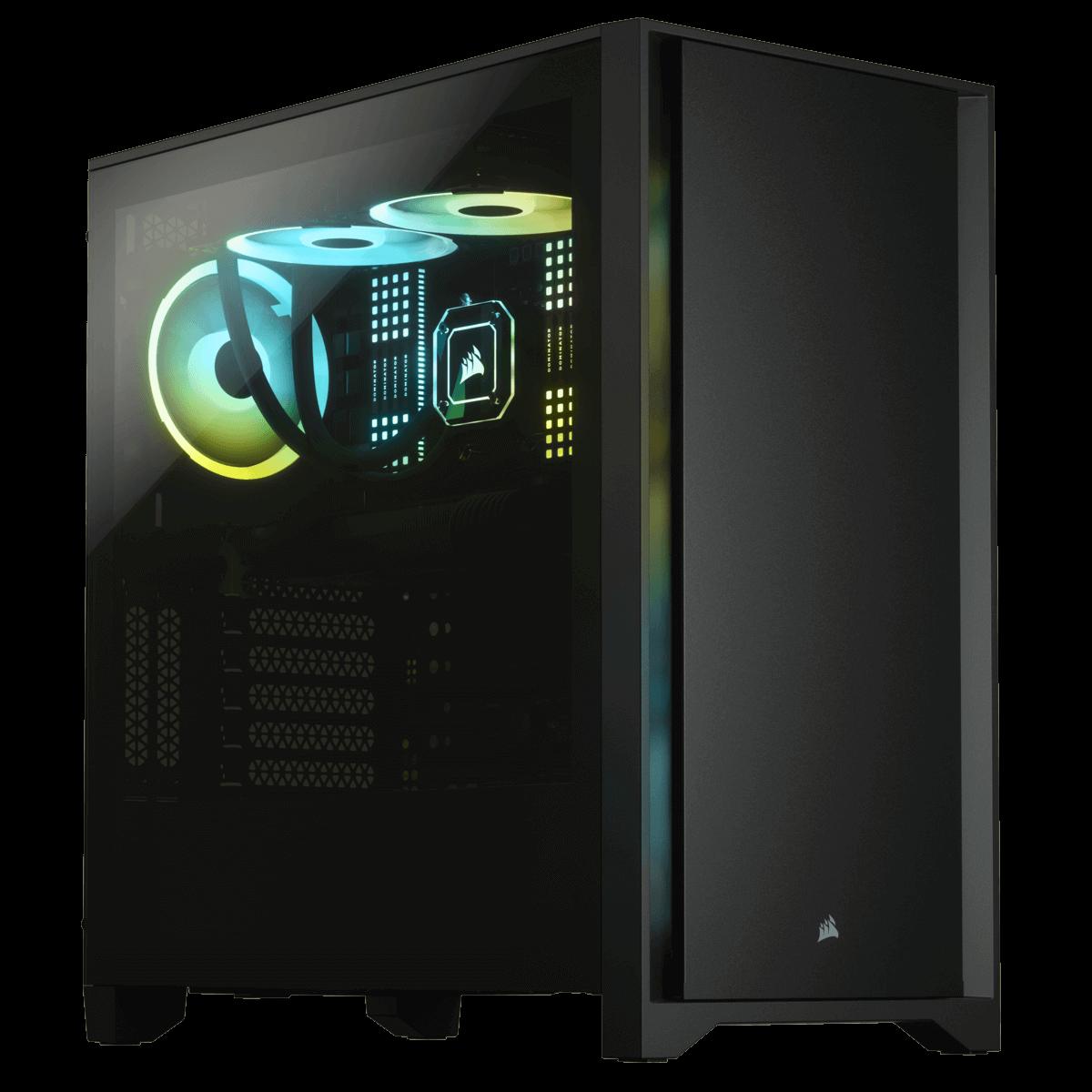 Gabinete Gamer Corsair 4000D, Mid Tower, Vidro Temperado, ATX, Black, Sem Fonte, Com 2 fans, CC-9011198-WW