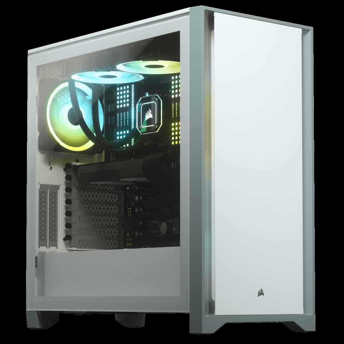 Gabinete Gamer Corsair 4000D, Mid Tower, Vidro Temperado, ATX, White, Sem Fonte, Com 2 fans, CC-9011199-WW
