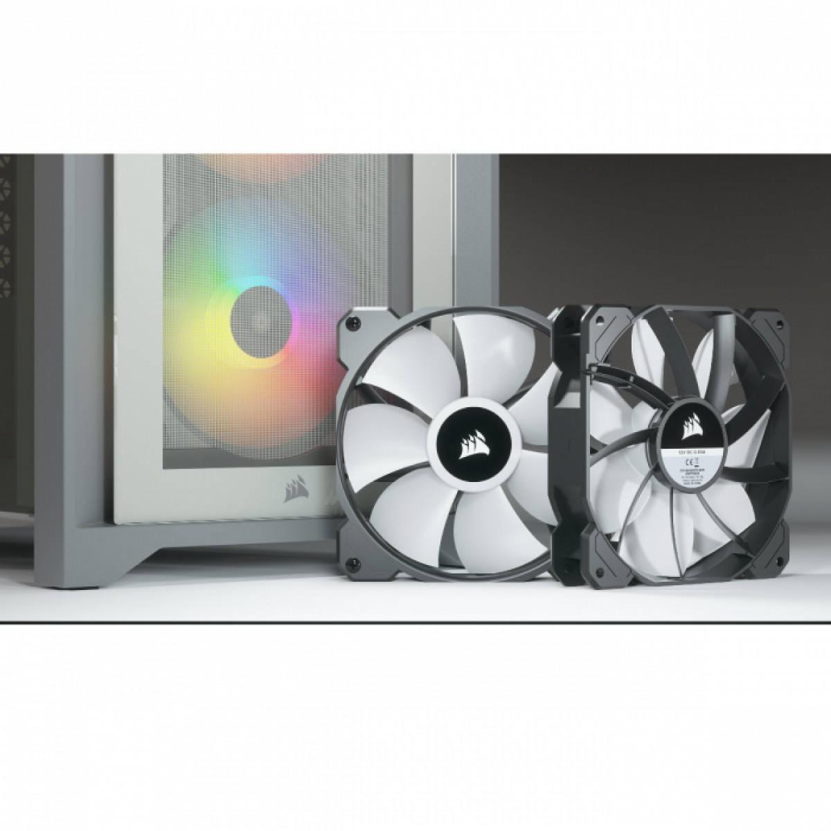 Gabinete Gamer Corsair 4000X RGB, Mid Tower, Vidro Temperado, ATX, White, iCue, Sem Fonte, Com 3 Fans, CC-9011205-WW