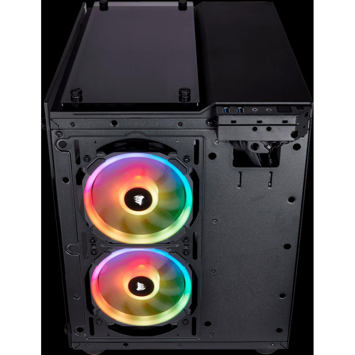Gabinete Gamer Corsair Crystal 280x RGB, Mini Tower, Sem Fan, Vidro Temperado, Black, Sem Fonte, CC-9011135-WW