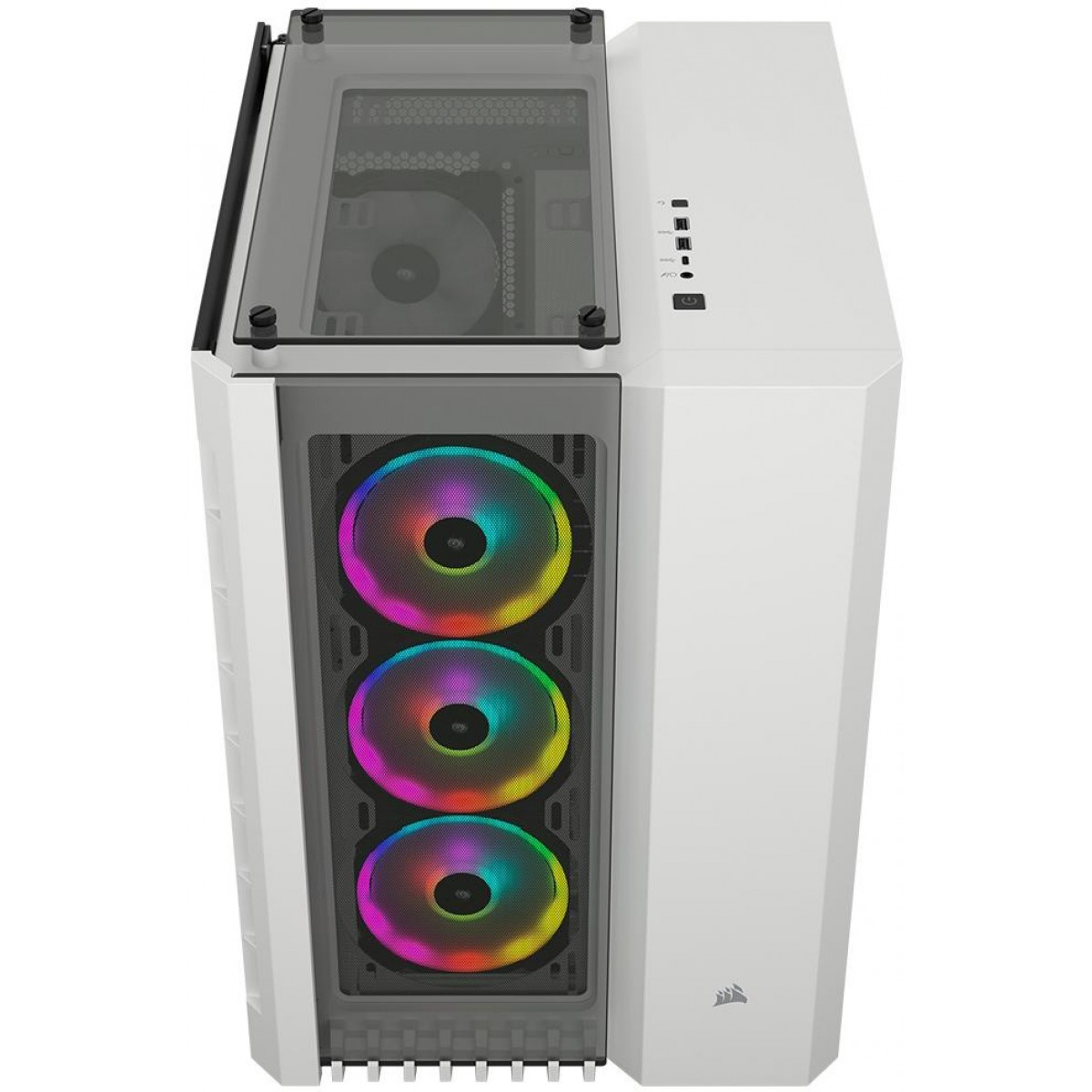 Gabinete Gamer Corsair Crystal 680x RGB, Full Tower, Vidro Temperado, 4 Fans, White, S-Fonte, CC-9011169-WW