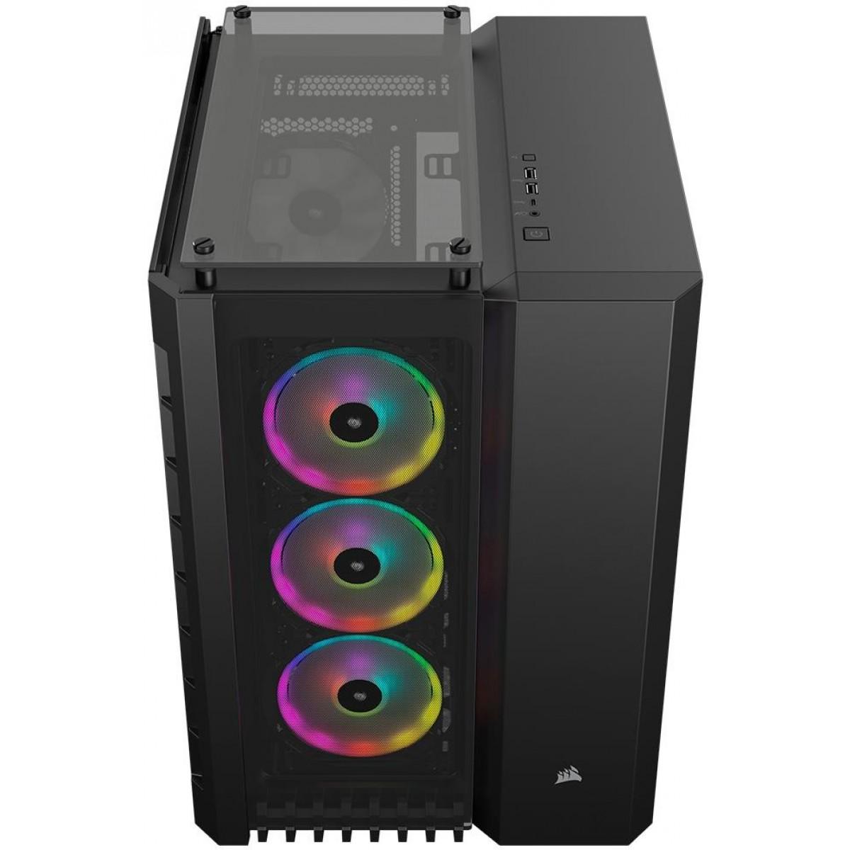 Gabinete Gamer Corsair Crystal 680x RGB, Full Tower, Vidro Temperado, Com 4 Fans, Black, Sem Fonte, CC-9011168-WW