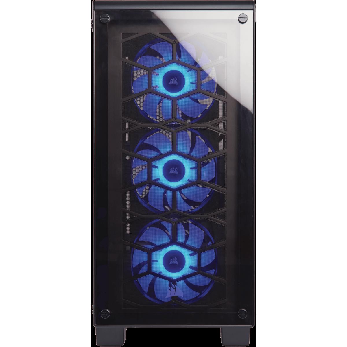 Gabinete Gamer Corsair Crystal 460X RGB, Mid Tower, Com 3 Fans, Vidro Temperado, Black, S-Fonte, CC-9011101-WW